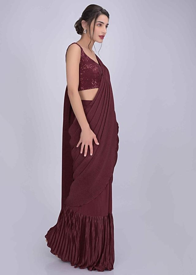 Brick red crepe and lycra saree with sequined blouse only on Kalki