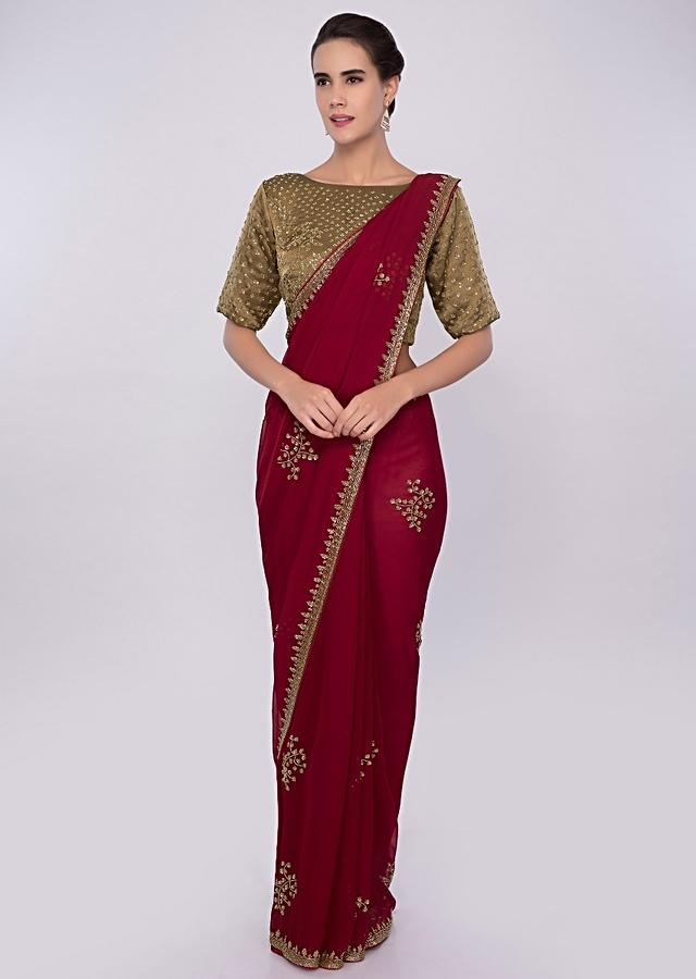 Brick Red Saree In Embroidered Georgette With Contrasting Golden Palm Blouse Online - Kalki Fashion