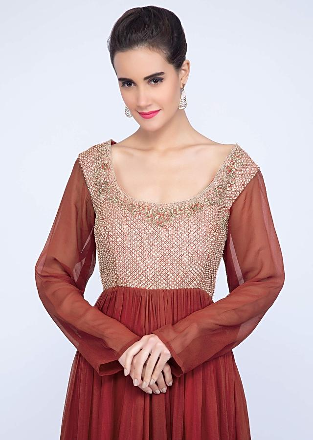 Brick Red Flared Anarkali With Jaal Embroiderd Bodice Online - Kalki Fashion