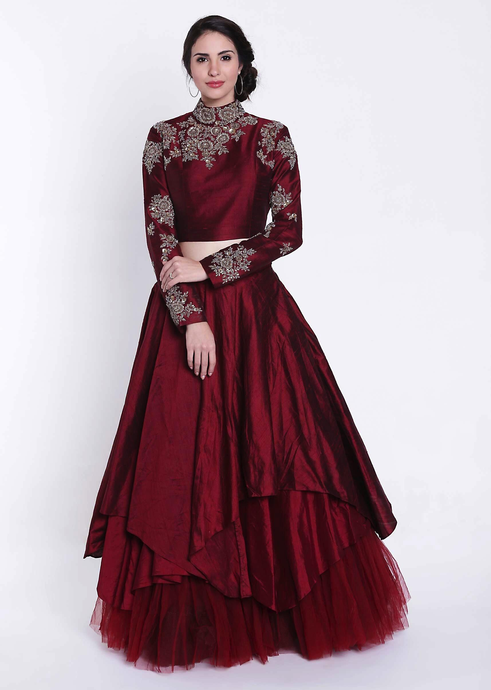 cca630fbe917ff Brick red lehenga with zardosi embroidered blouse only on KalkiMore Detail