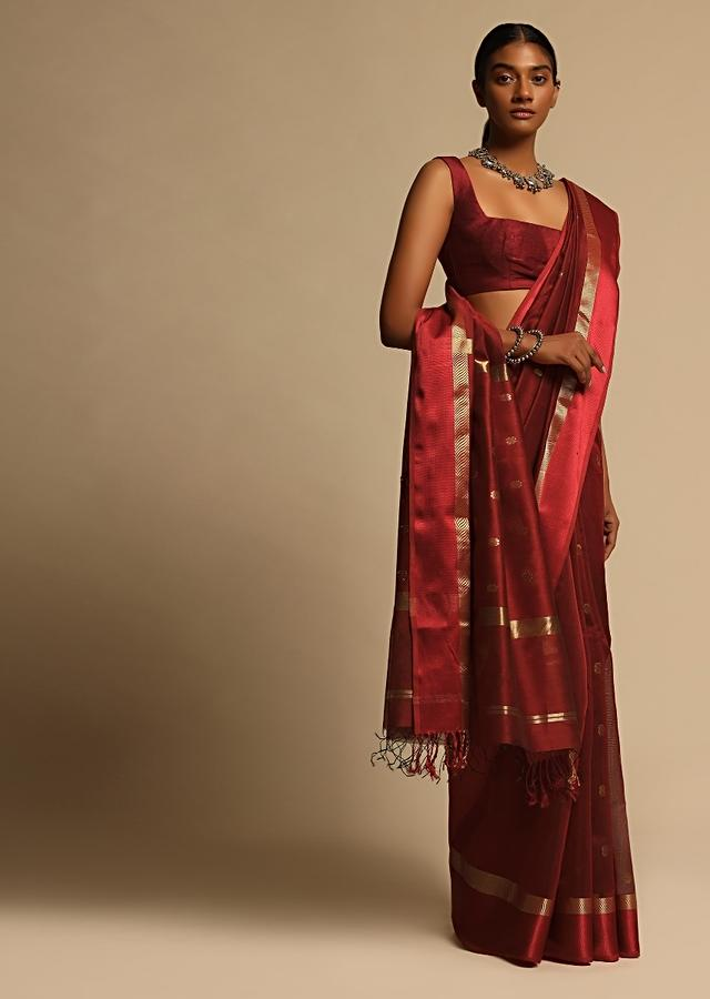Brick Red Saree In Cotton Silk With Woven Buttis And Red And Gold Border Along With Unstitched Blouse Online - Kalki Fashion
