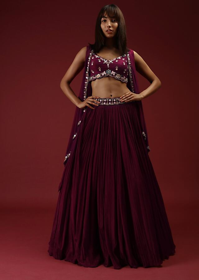 Brick Maroon Lehenga Choli And Sleeveless Jacket With Multi Colored Hand Embroidered Floral Motifs Using Flower Shaped Sequins Online - Kalki Fashion