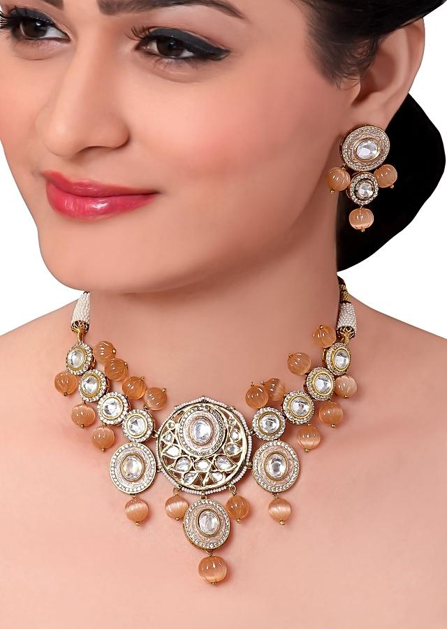 Bridal Kundan Choker Set With Orange Moonstone Online - Joules By Radhika