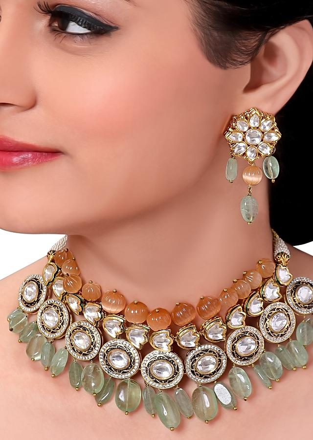 Bridal Kundan Necklace Set With Green Fluorite And Orange Moonstones Online - Joules By Radhika