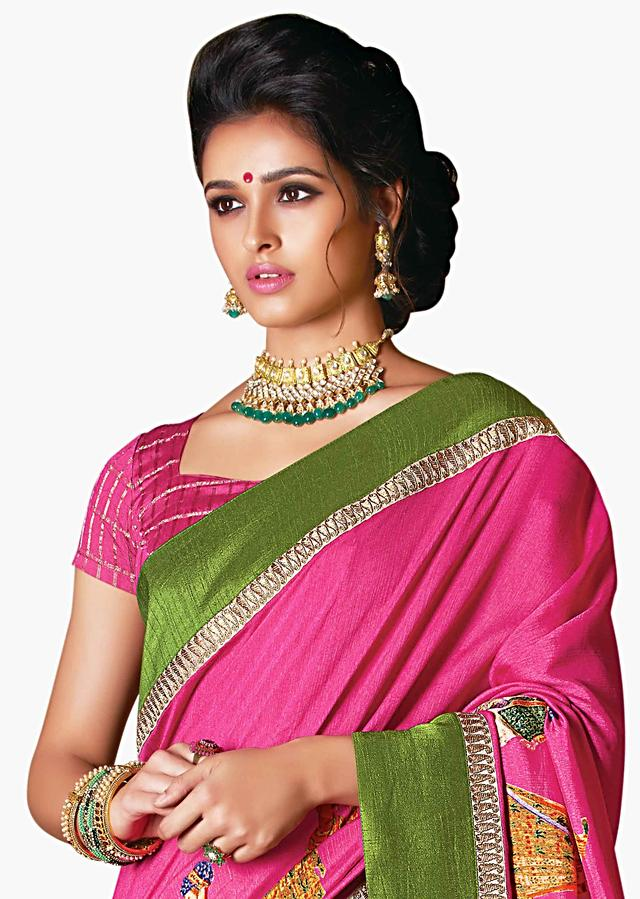 Bright Pink Saree In Silk With Human Motif Print And Contrast Border Online - Kalki Fashion