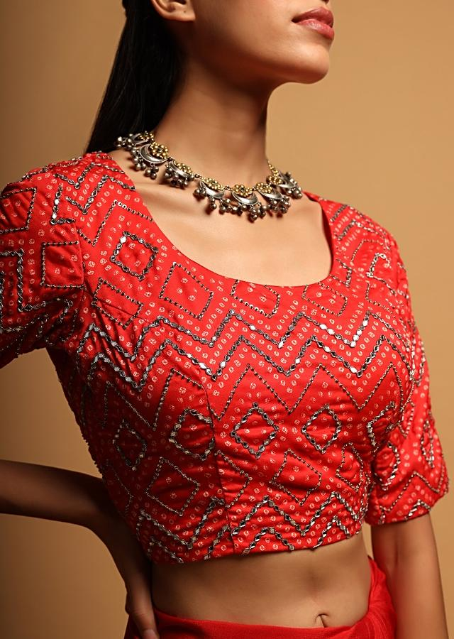 Bright Red Blouse In Silk Blend With Bandhani Print And Mirror Embroidery In Geometric Design Online - Kalki Fashion