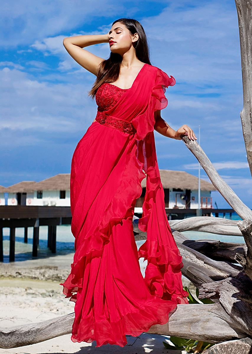 Bright Red Ready Pleated Saree With Ruffled Pallo Paired With A Strapless Hand Embroidered Blouse Online - Kalki Fashion