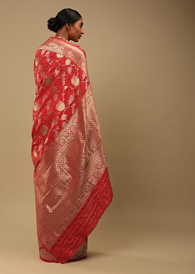 Bright Red Saree In Pure Handloom Silk With Two Toned Woven Floral Jaal, Geometric Motifs On The Pallu And Unstitched Blouse Online - Kalki Fashion