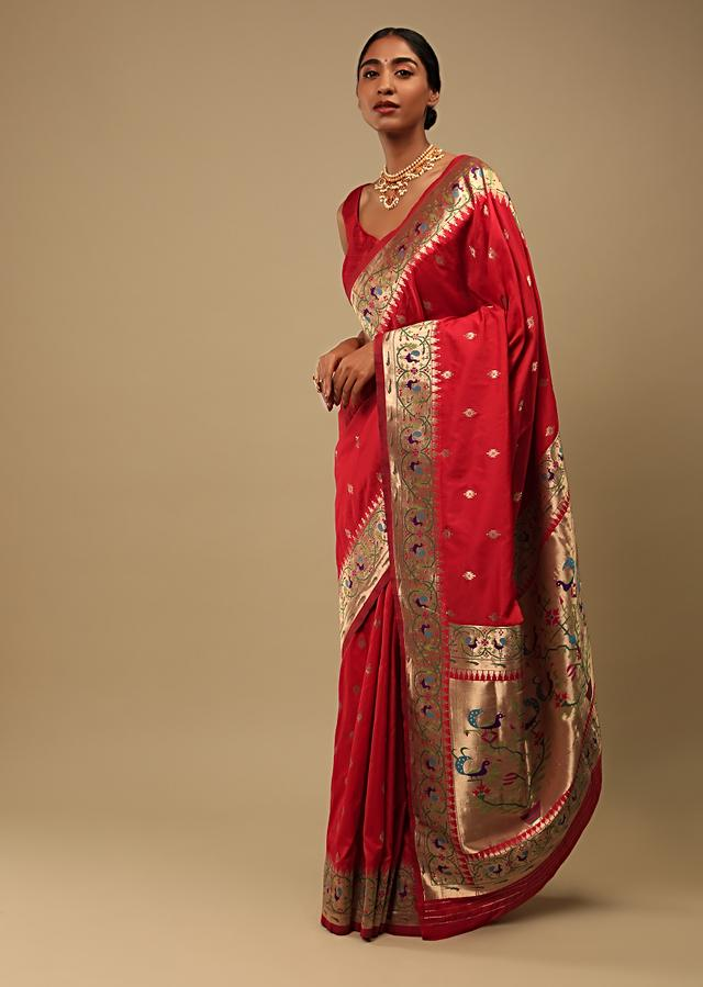 Bright Red Saree In Pure Handloom Silk With Woven Geometric Buttis, Peacock Motifs On The Border And Unstitched Blouse Online - Kalki Fashion