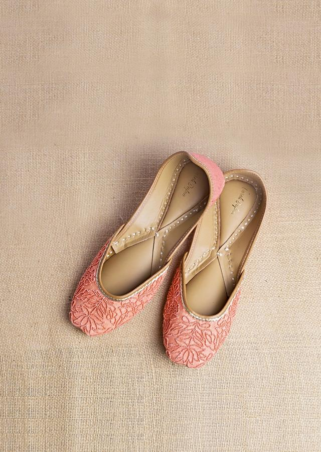 Bright Salmon Juttis In Heavy Linen With Self Colored Bead Work In Floral Jaal Design By Vareli Bafna