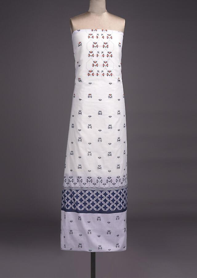 Bright White Unstitched Suit Cotton With Blue Printed Buttis And Abla Work Online - Kalki Fashion