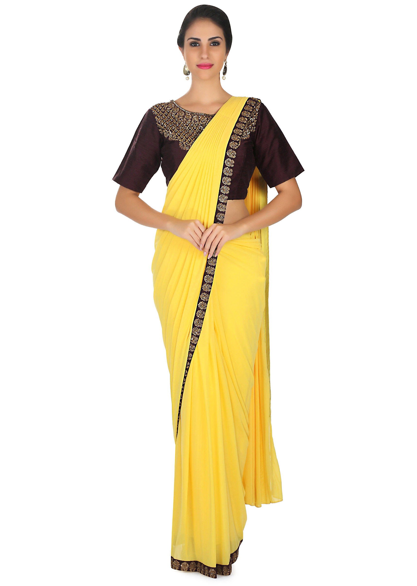 fec16b1822f5e Bright yellow pre stitched saree with brown ready embroidered blouse only  on KalkiMore Detail