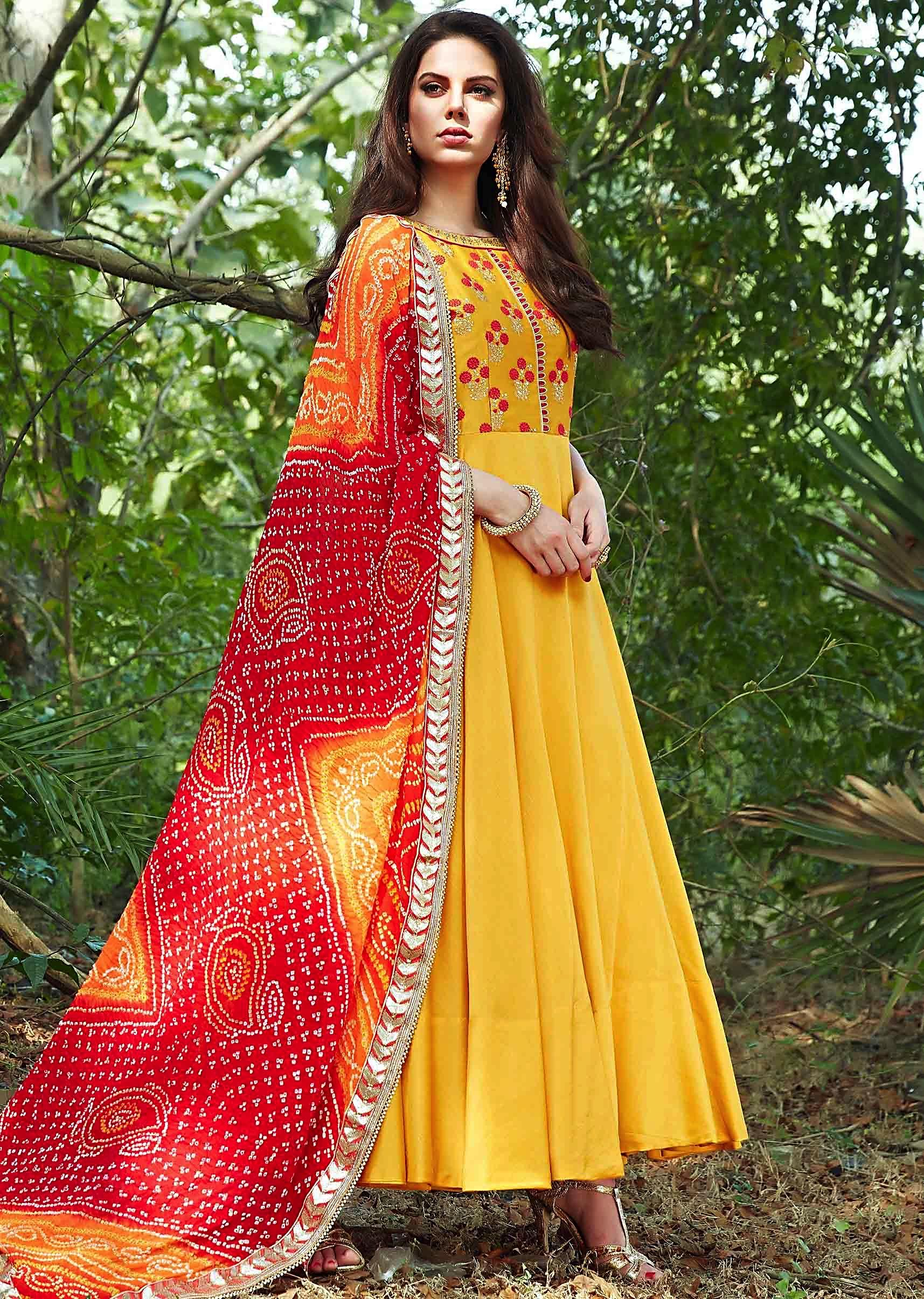 f780e18dcedc Bright yellow anarkali suit with embroidered bodice and bandhani dupatta