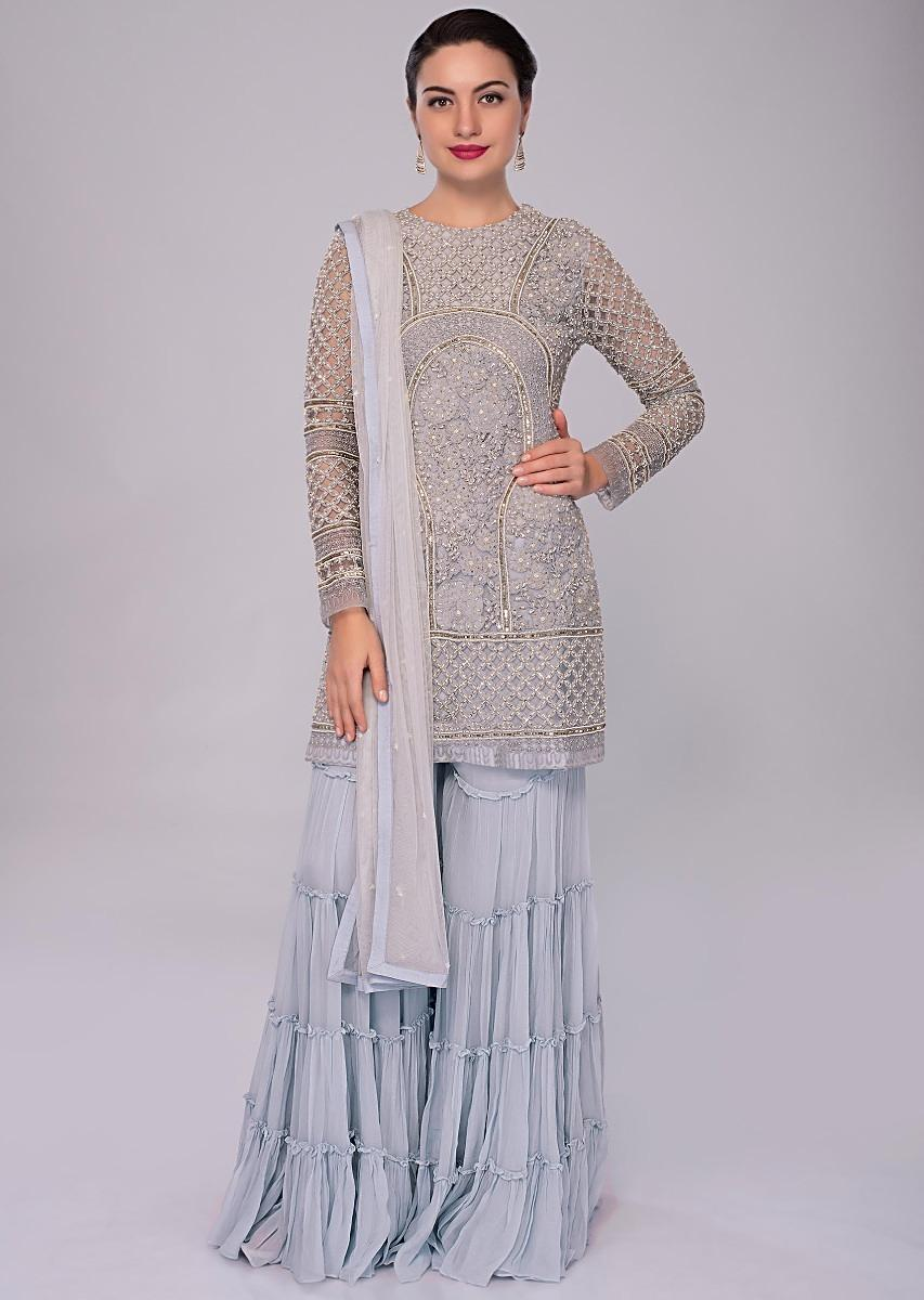 068e0b7c69 Brittany blue net embroidered suit with matching georgette sharara only on  KalkiMore Detail