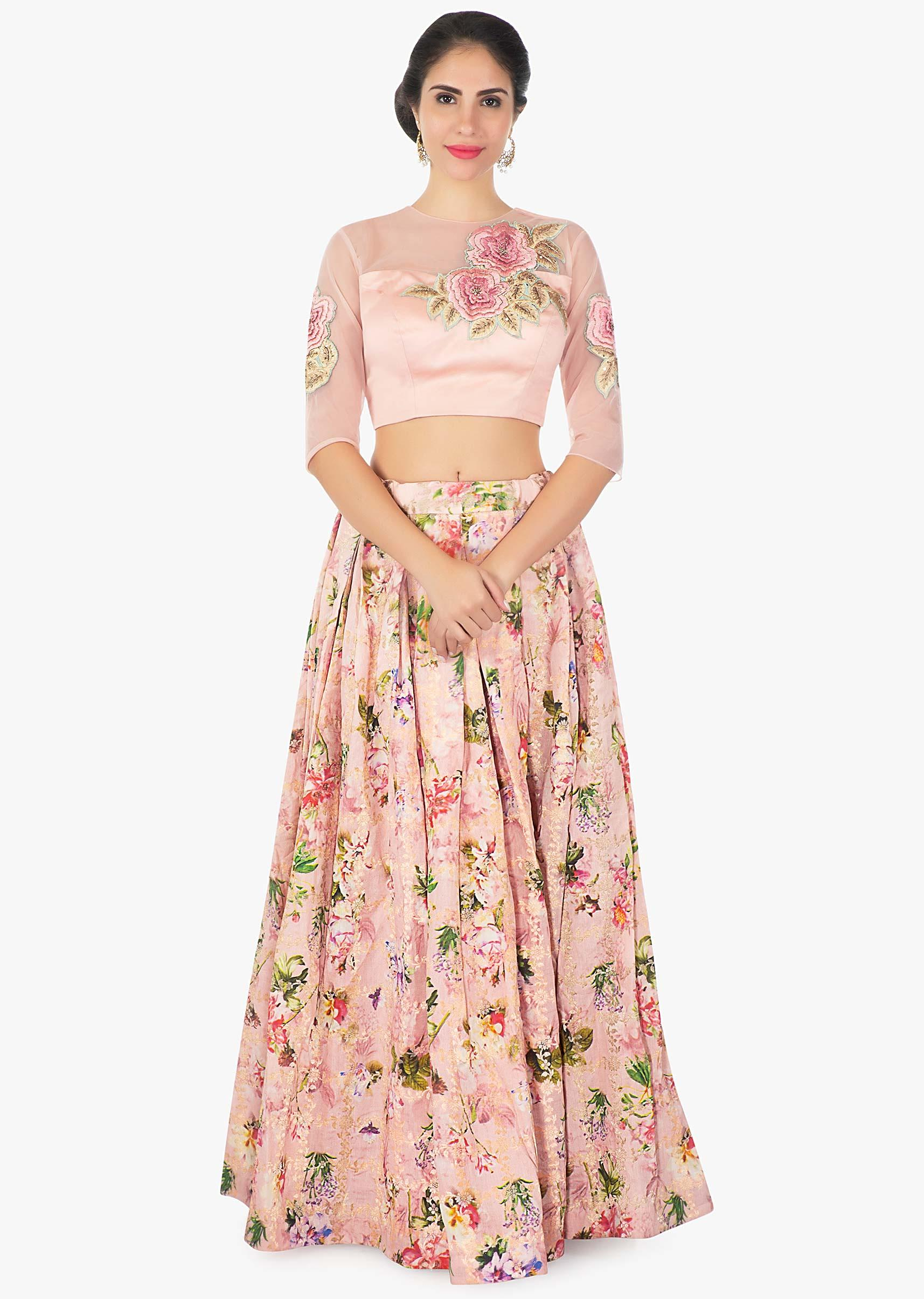 15a11c5232f Brocade mix floral print peach skirt with a Milano satin net blouse only on  KalkiMore Detail
