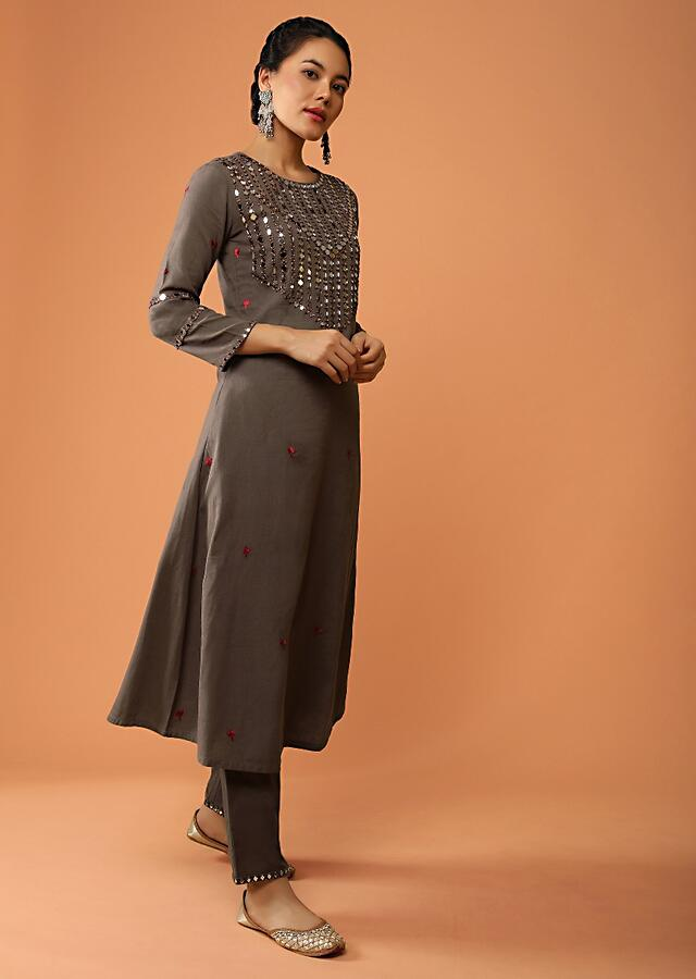 Brown A Line Suit In Jute Cotton With Mirror Abla Embroidered Yoke Design And Straight Cut Pants Online - Kalki Fashion