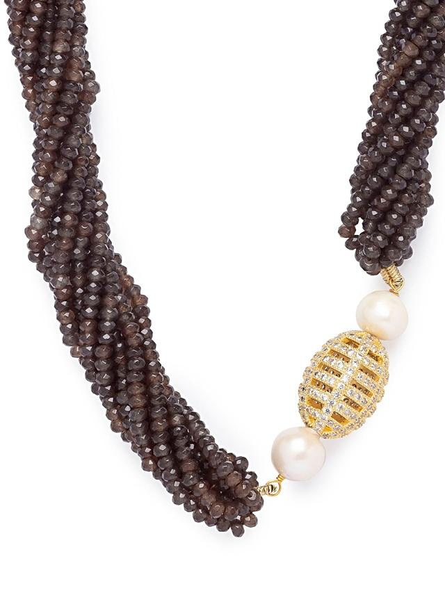 Brown Agate Necklace With Shell Pearls And Swarovski Studded Highlight Online - Joules By Radhika