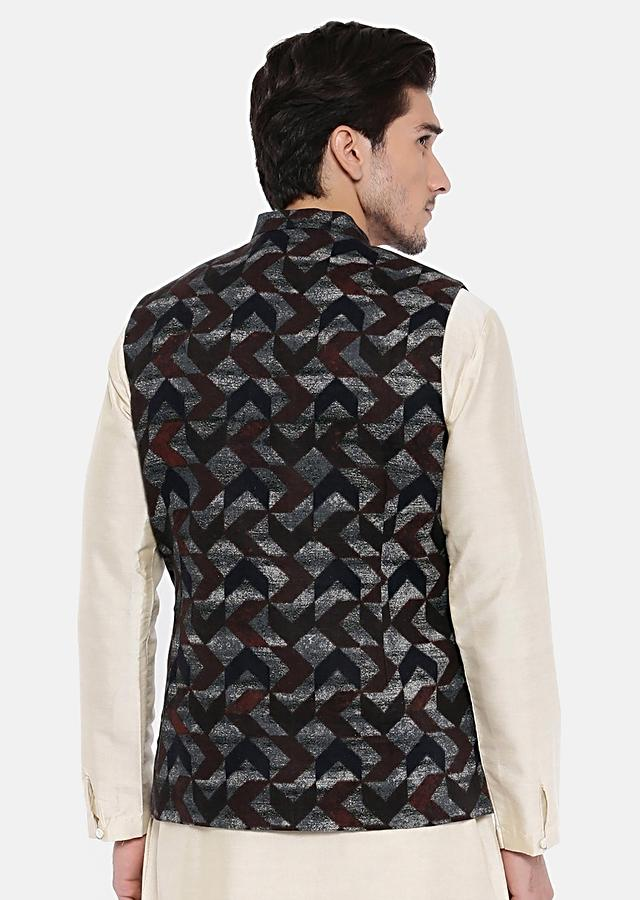 Brown And Blue Nehru Jacket In Linen With Geometric Print By Mayank Modi