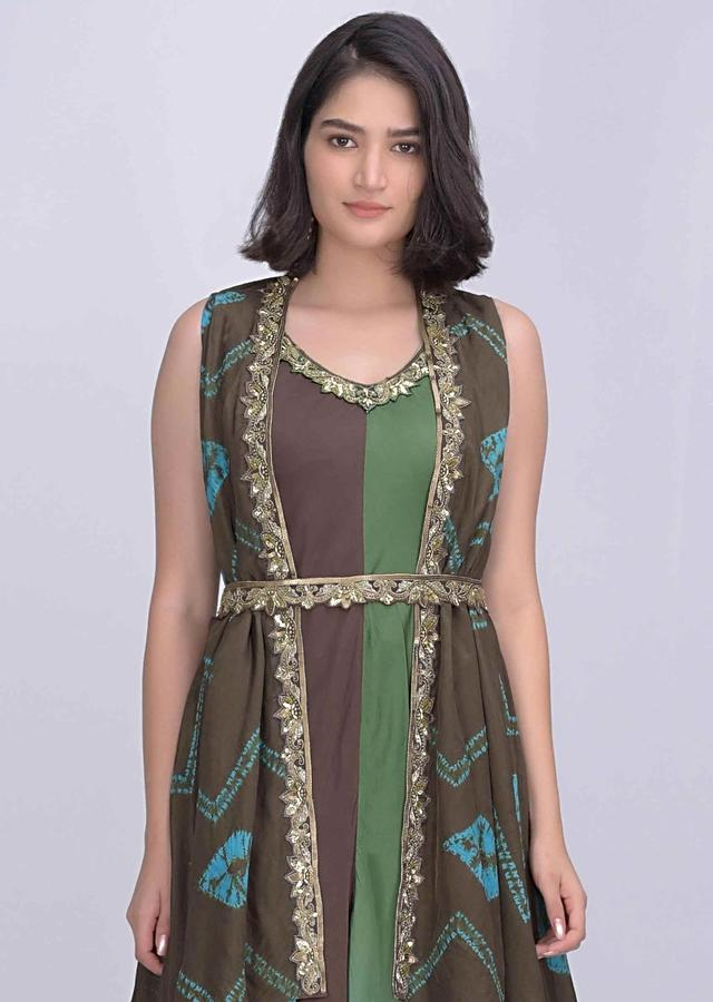Brown And Multi Color Shaded Jumpsuit In Satin Crepe With Crepe Jacket Online - Kalki Fashion
