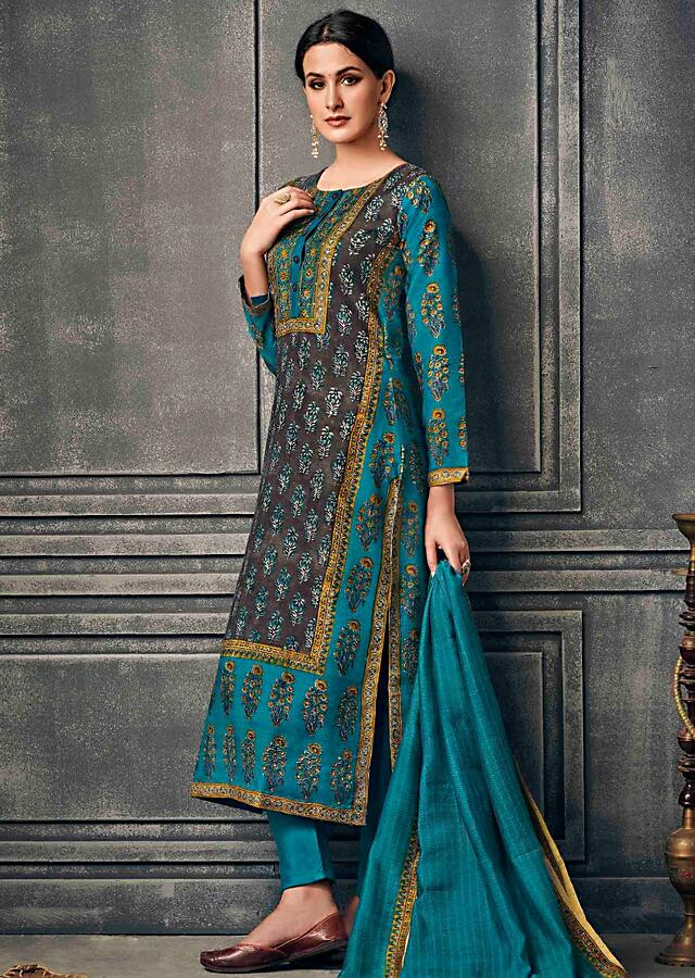Brown And Turq Blue Suit In Silk With Floral Printed Butti And Border Online - Kalki Fashion
