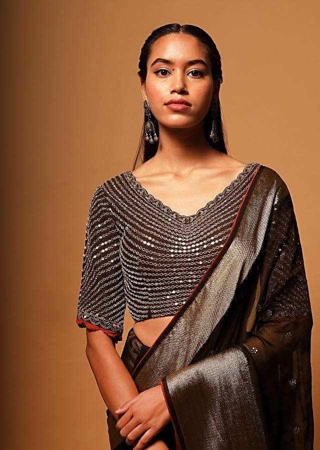 Brown Blouse In Raw Silk Heavily Embellished With Mirrors In Linear Design Online - Kalki Fashion