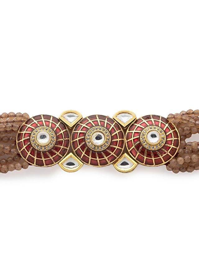Brown Bracelet With Agate Bead Strings And Meenakari Work In Round Motifs Studded With Kundan And Swarovski Stone Online - Joules By Radhika