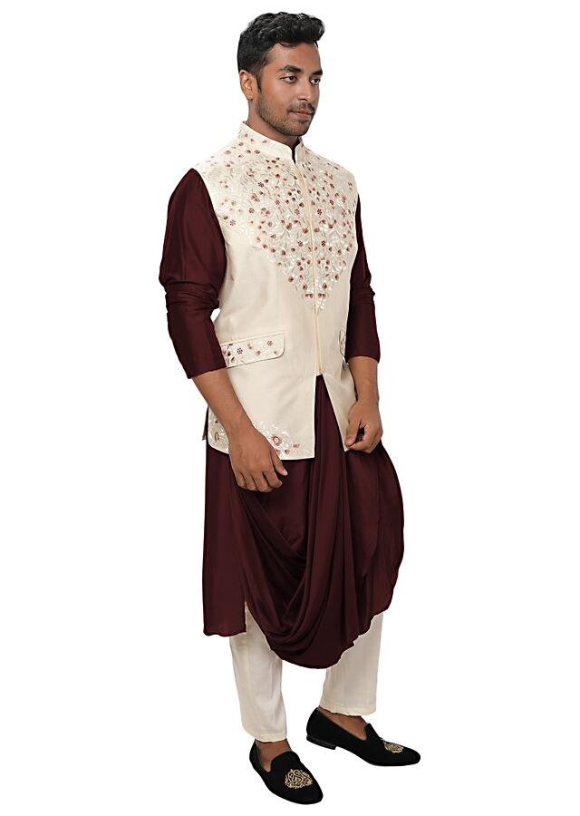 Brown Kurta With Cowl Drape Paired With An Off White Threadwork Jacket With Flap Pockets Online - Kalki Fashion