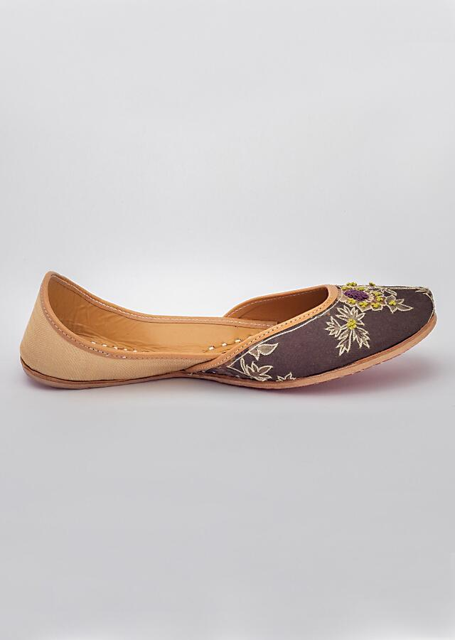 Brown Juttis In Floral Printed Cotton Satin With Gold Zari Highlights By Vareli Bafna