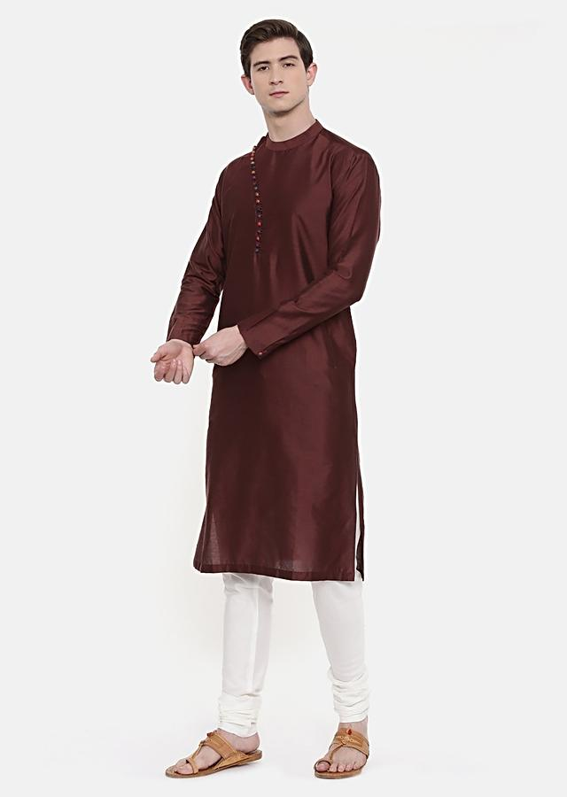 Brown Kurta Set In Cotton Silk Adorned With Colorful Potli Buttons By Mayank Modi