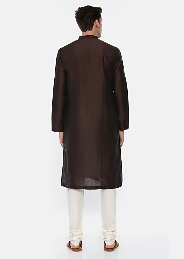Brown Kurta Set In Silk With Subtle Thread Embroidery On The Shoulder By Mayank Modi