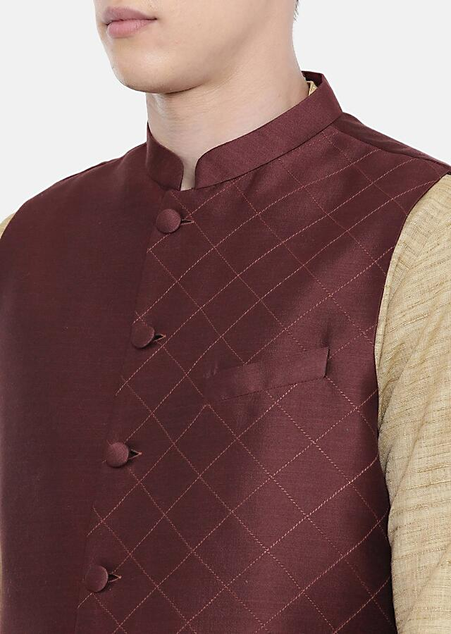 Brown Nehru Jacket In Chanderi Silk With Hand Embroidered Checks On One Side By Mayank Modi