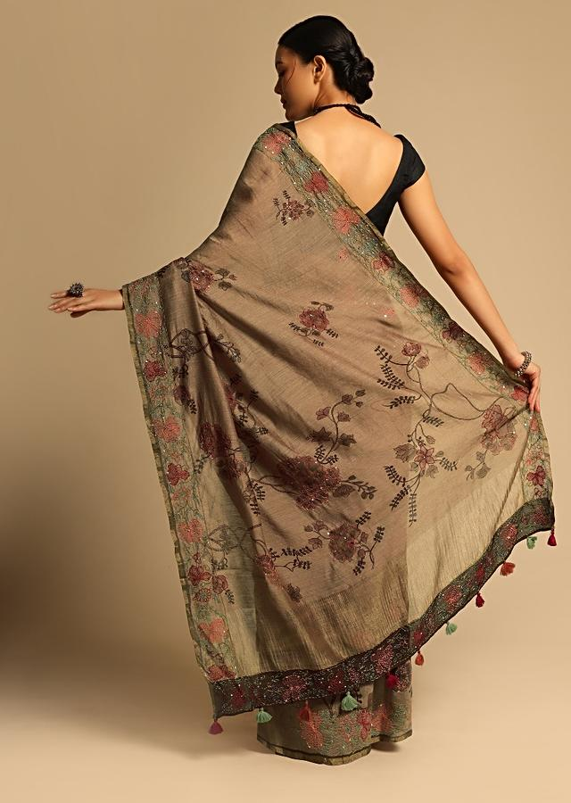 Brown Saree In Tussar Silk With Floral Print And Hand Embroidery Using Colorful Threads Along With Unstitched Blouse Online - Kalki Fashion