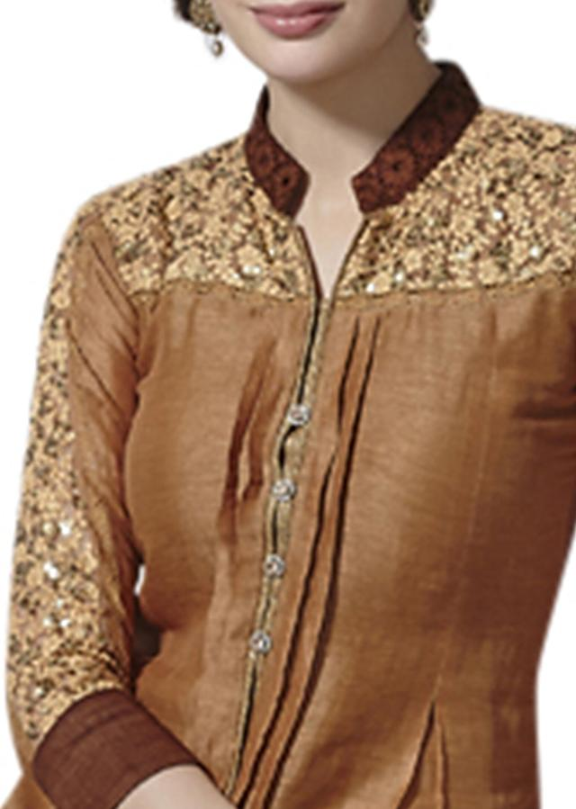 Brown shaded kurti embellished in thread and sequence work only on Kalki