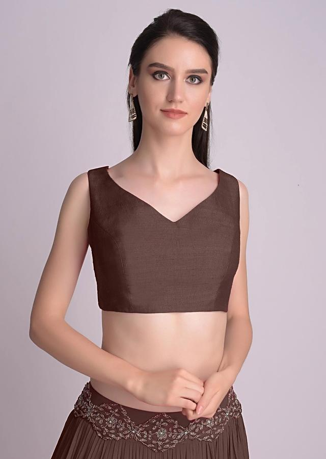 Brown Sleeveless Blouse With Double Tie Up Tassel Dori At The Back Online - Kalki Fashion