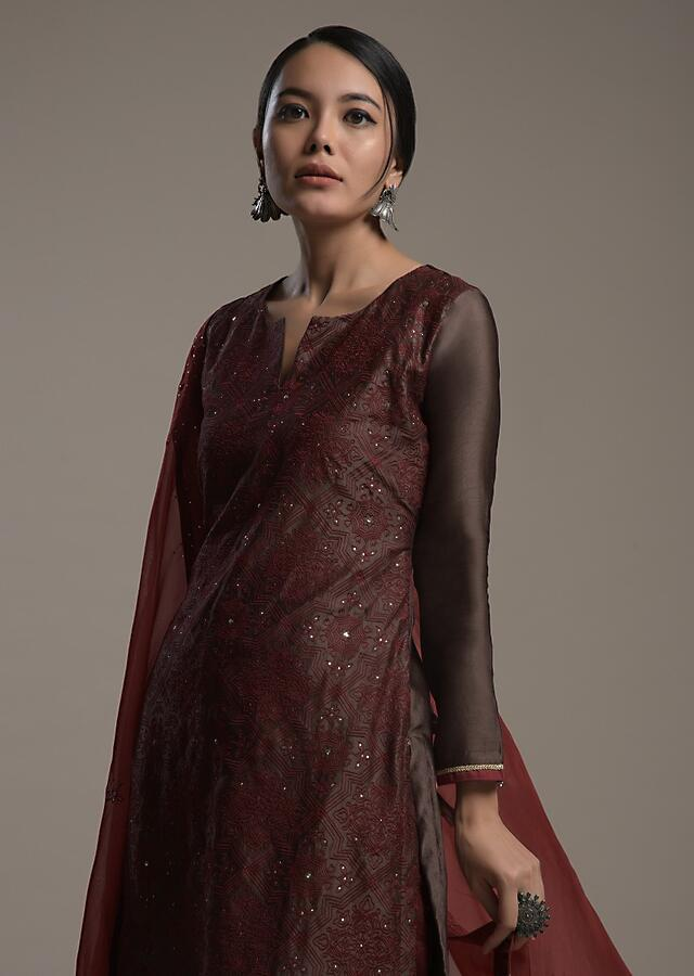 Brown Straight Cut Suit In Cotton Silk With Maroon Thread And Badla Embroidered Jaal Online - Kalki Fashion