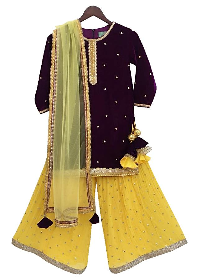 Brown Kurti In Velvet With Yellow Sequins Boori Georgette Sharara by Fayon Kids