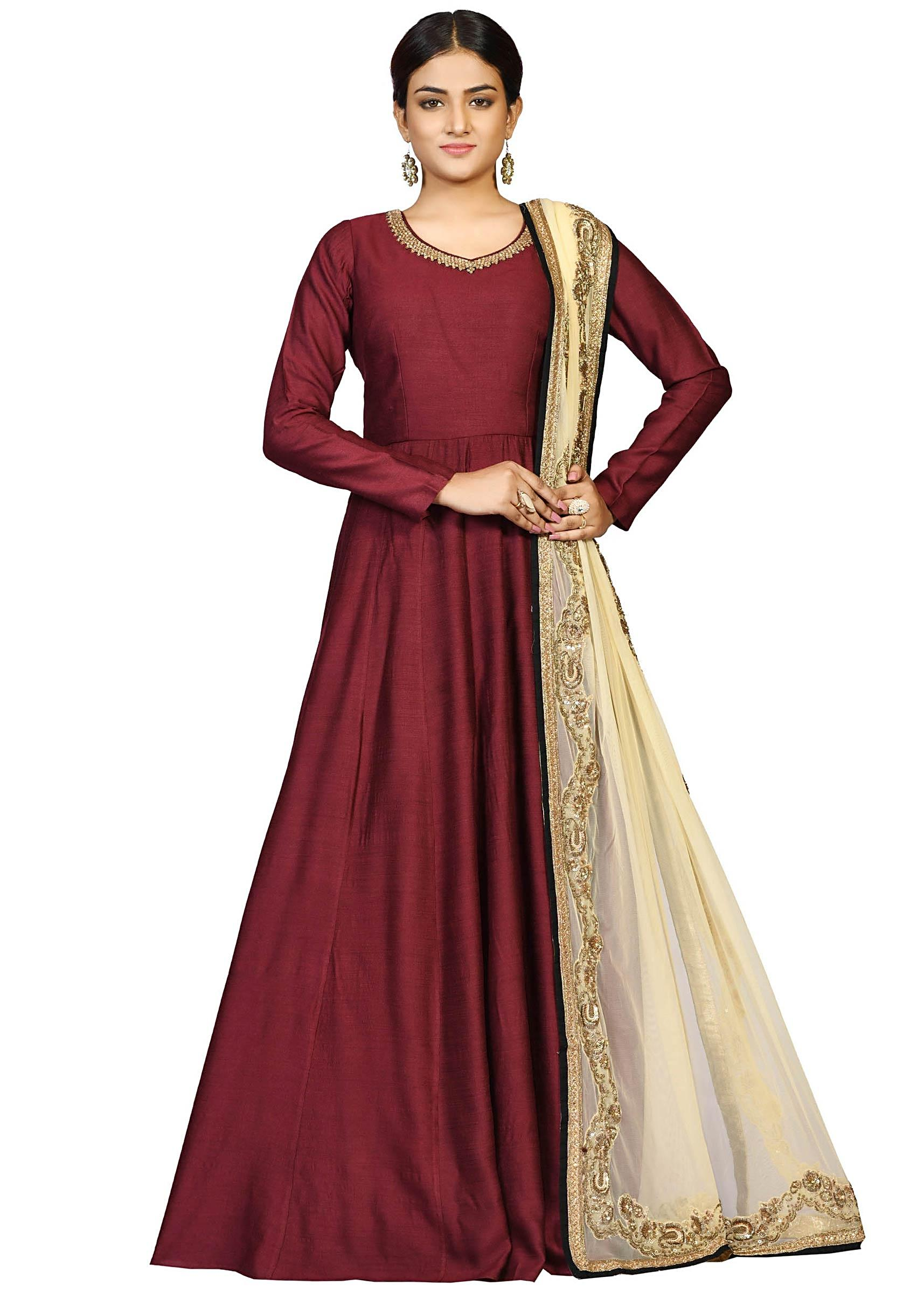Brown Chanderi Suit With Heavy Dupatta Featuring The Zari