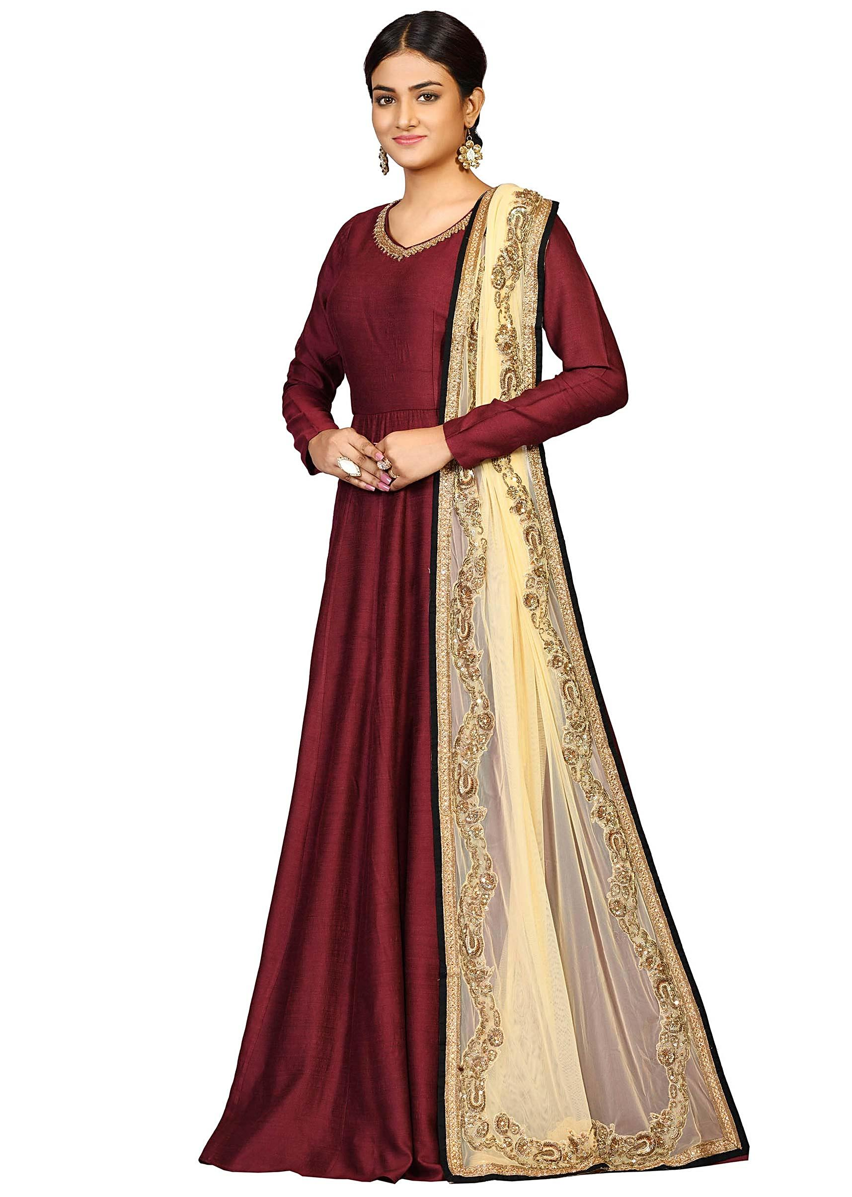 e2d91059b8 Brown chanderi suit with heavy dupatta featuring the zari embroidery only  on Kalki