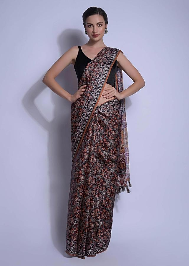 Brunette Brown Saree In Silk With Jaal Print In Floral Motifs Online - Kalki Fashion