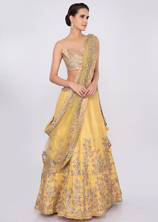 Bumblebee yellow raw silk lehenga set in floral jaal embroidery only on kalki