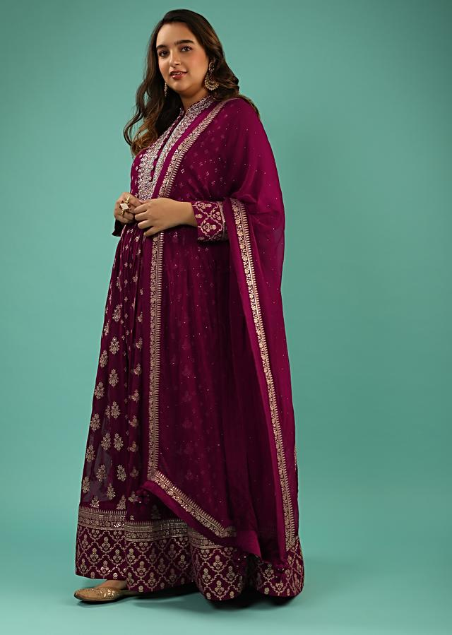 Burgundy Anarkali Suit In Georgette With Sequins And Zari Embroidered Floral Buttis And Chiffon Dupatta Online - Kalki Fashion
