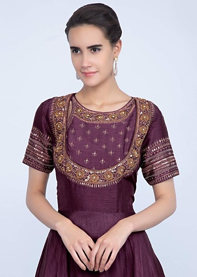Burgundy And Powder Pink Suit In Shaded Silk With Embroidery And Butti Online - Kalki Fashion