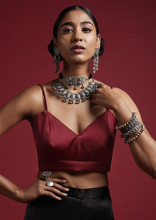 Burgundy Blouse In Milano Satin With Spaghetti Straps And Stitched Overlapping Neckline Online - Kalki Fashion
