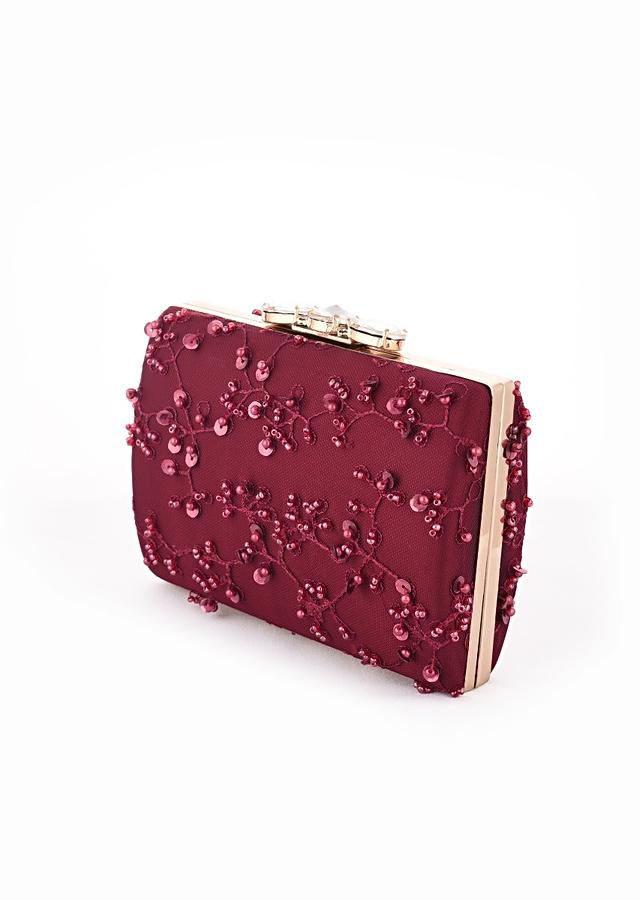 Burgundy Box Clutch With Embroidered Net Adorned In Beads Work In Jaal Design And Triple Stone Studded Clasp Online - Kalki Fashion