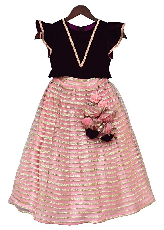 Burgundy Crop Top In Velvet with Pink Lehenga With Gotta Lace By Fayon Kids
