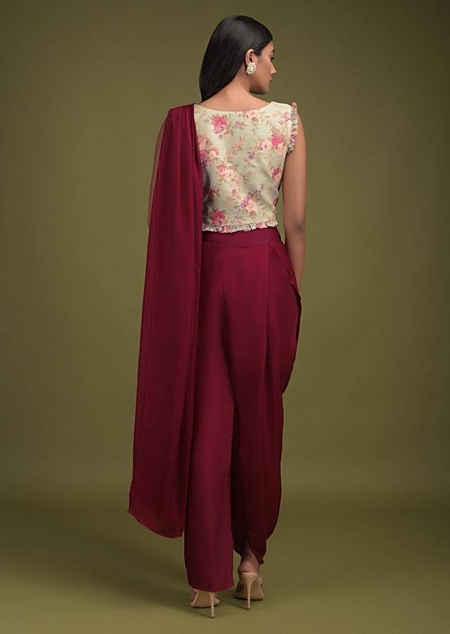 Burgundy Dhoti Saree In Silk Blend And Leisure Green Floral Printed Crop Top With Frill Online - Kalki Fashion