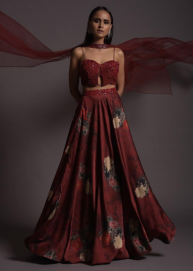 Burgundy Floral Printed Skirt And Sequin Crop Top With Front Cut Out Online - Kalki Fashion