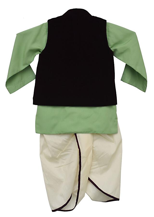 Burgundy Nehru Jacket In Velvet With Green Kurta And Off White Dhoti By Fayon Kids