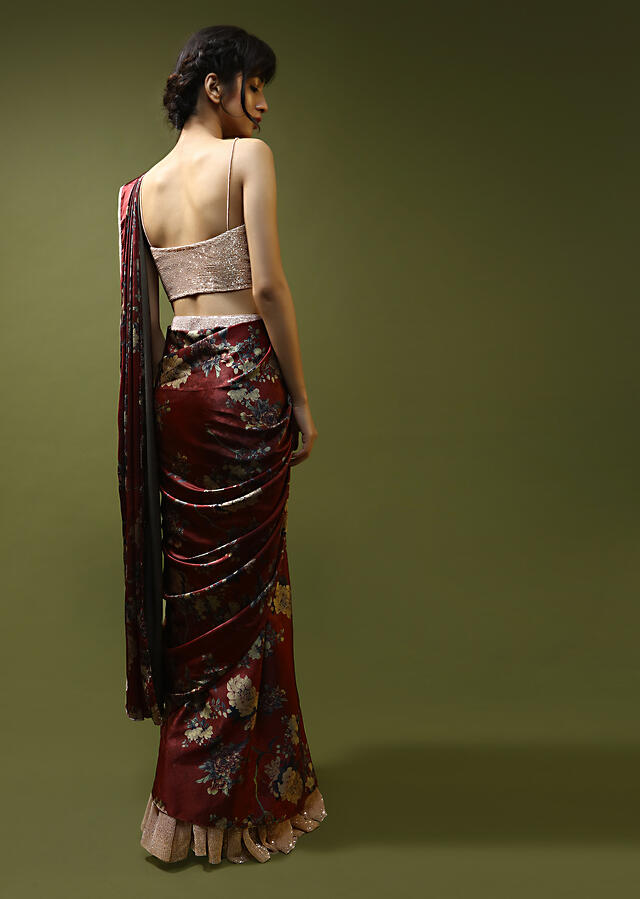 Burgundy Ready Pleated Saree In Satin With Floral Print And Peach Sequin Embellished Frill On The Hemline And Blouse Online - Kalki Fashion