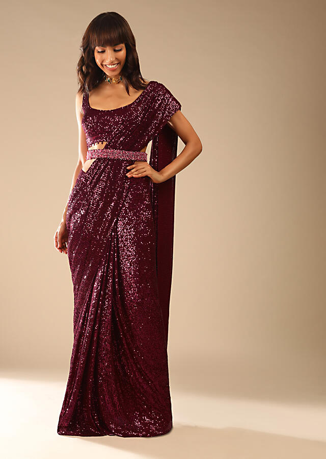 Burgundy Ready Pleated Saree In Sequins Fabric With Bead Fringes, Moti Embellished Belt And Matching Sequins Blouse Online - Kalki Fashion